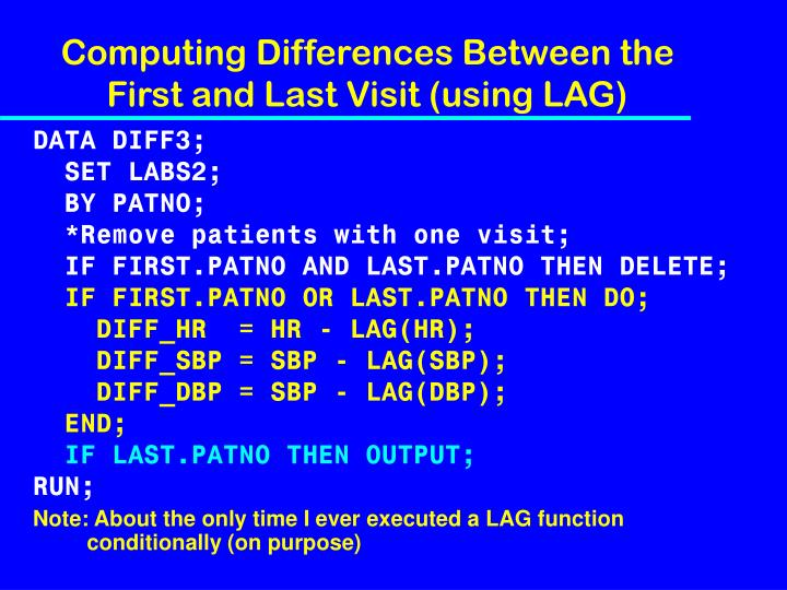 Computing Differences Between the First and Last Visit (using LAG)