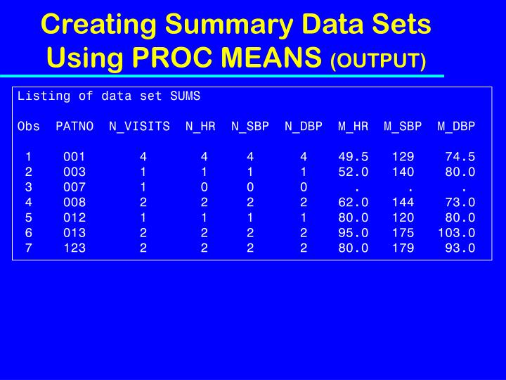 Creating Summary Data Sets Using PROC MEANS