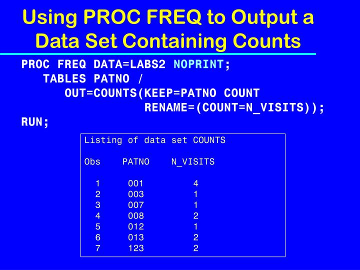 Using PROC FREQ to Output a Data Set Containing Counts