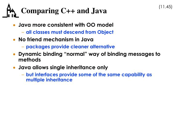 Comparing C++ and Java