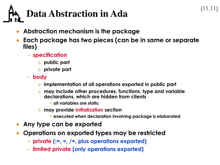 Data Abstraction in Ada
