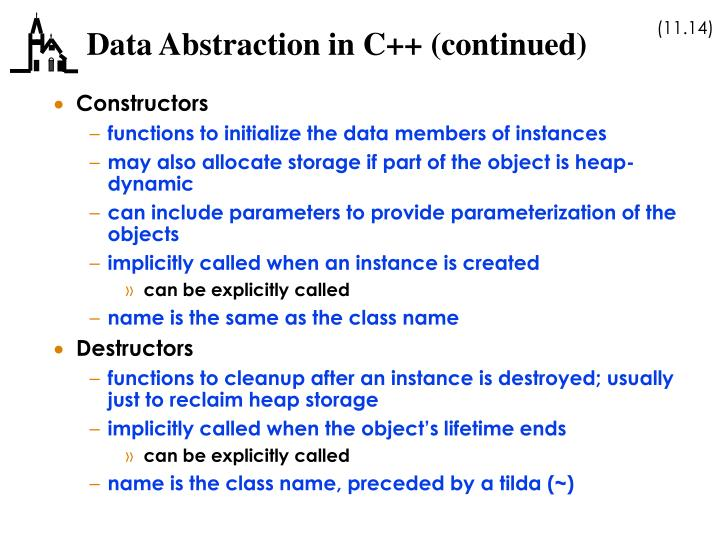 Data Abstraction in C++ (continued)