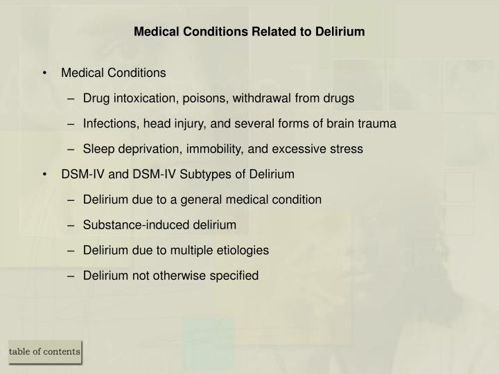 Medical Conditions Related to Delirium