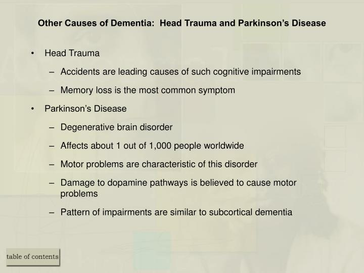 Other Causes of Dementia:  Head Trauma and Parkinson's Disease