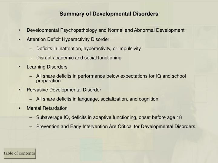 Summary of Developmental Disorders