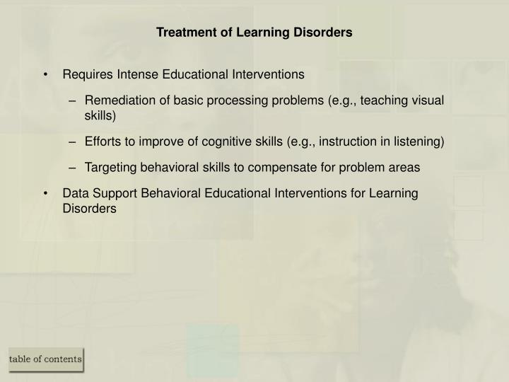 Treatment of Learning Disorders