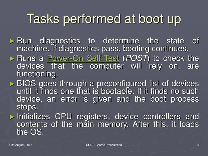 Tasks performed at boot up