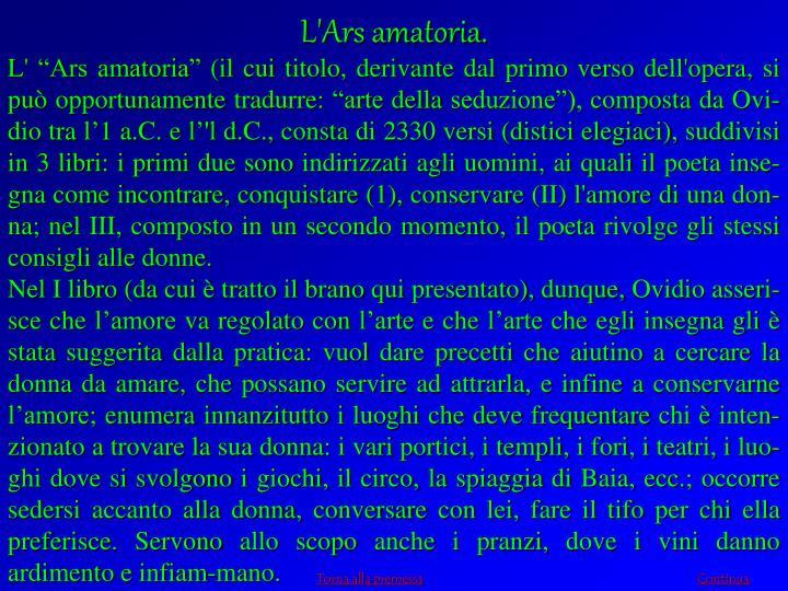 L'Ars amatoria.