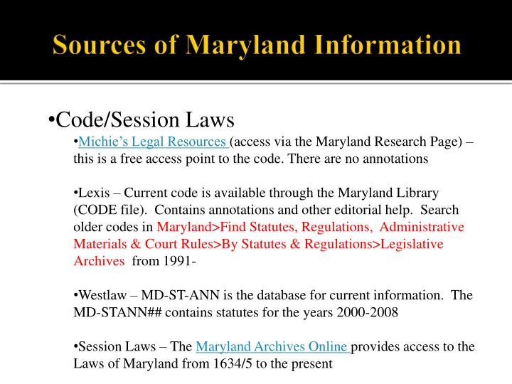 Sources of maryland information