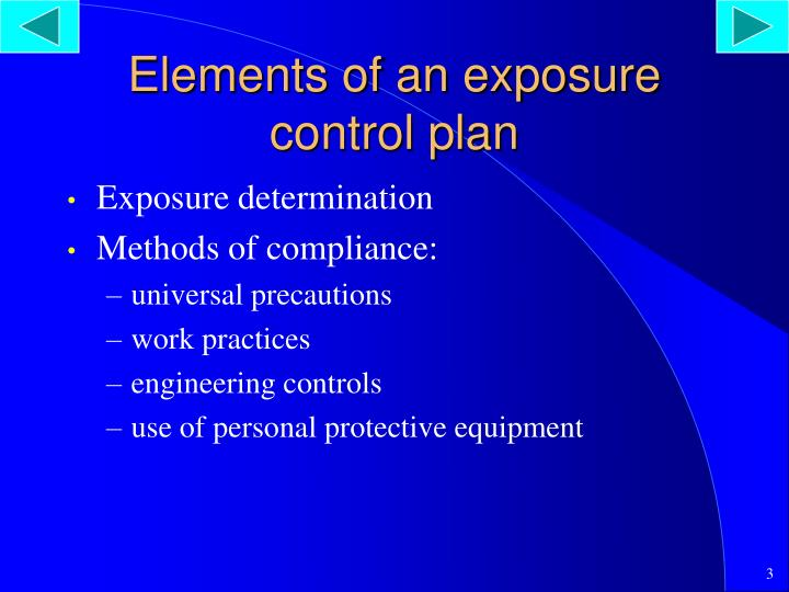 Elements of an exposure control plan