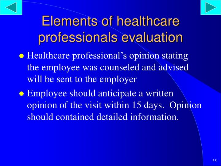 Elements of healthcare professionals evaluation