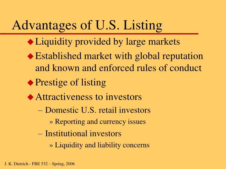 Advantages of U.S. Listing
