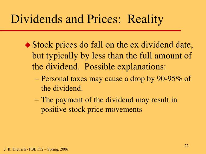 Dividends and Prices:  Reality