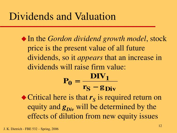 Dividends and Valuation