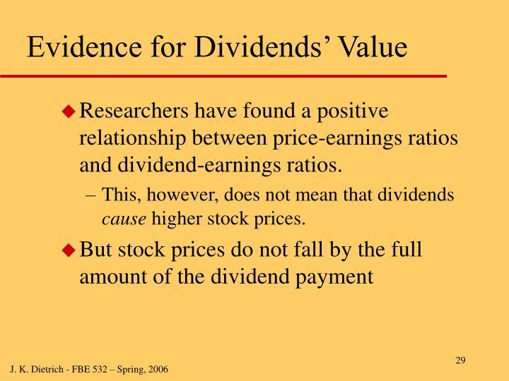 Evidence for Dividends' Value