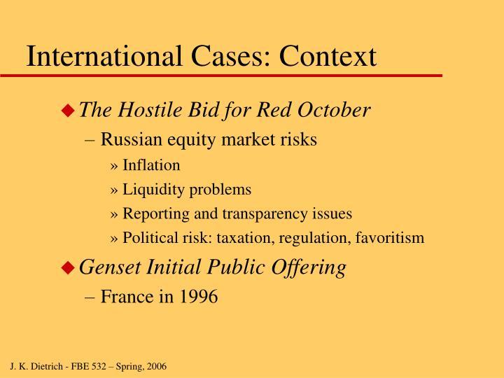 International Cases: Context