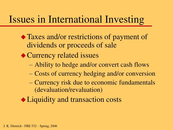 Issues in International Investing