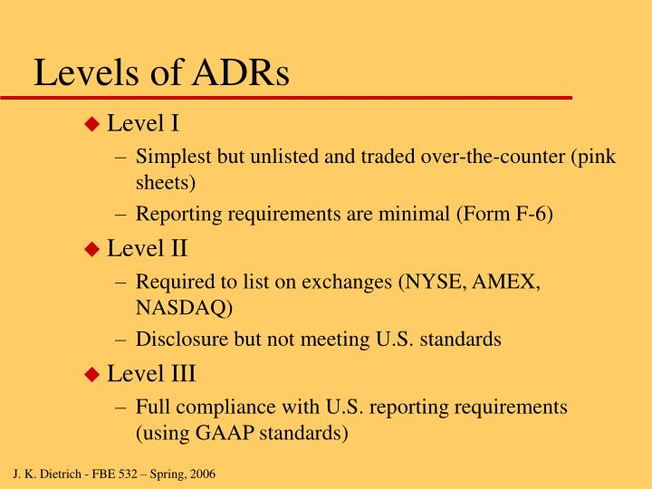 Levels of ADRs