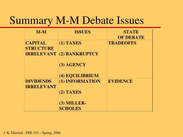 Summary M-M Debate Issues