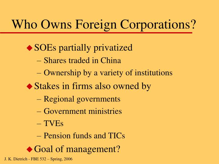Who Owns Foreign Corporations?