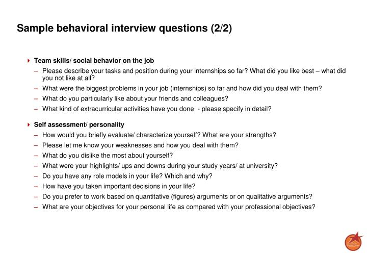 Sample behavioral interview questions (2/2)
