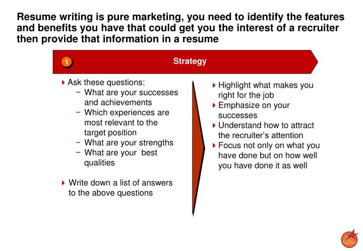Resume writing is pure marketing, you need to identify the features and benefits you have that could get you the interest of a recruiter then provide that information in a resume