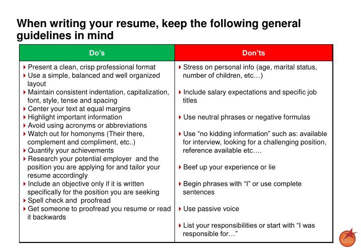 When writing your resume, keep the following general guidelines in mind