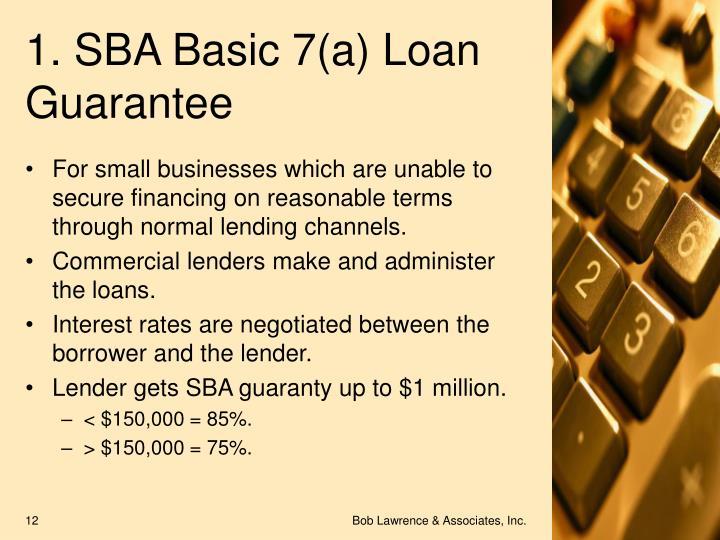 1. SBA Basic 7(a) Loan Guarantee