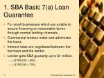 1 sba basic 7 a loan guarantee