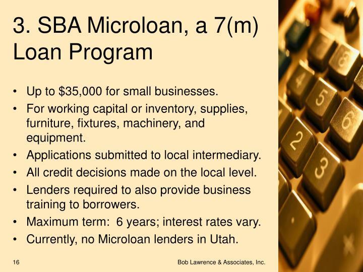 3. SBA Microloan, a 7(m) Loan Program