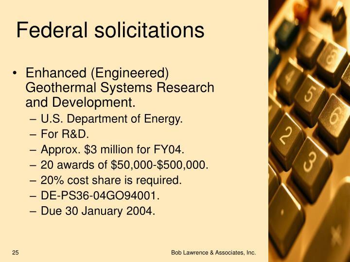 Federal solicitations