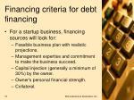 financing criteria for debt financing1
