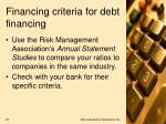 financing criteria for debt financing2