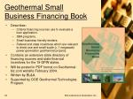 geothermal small business financing book