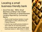 locating a small business friendly bank