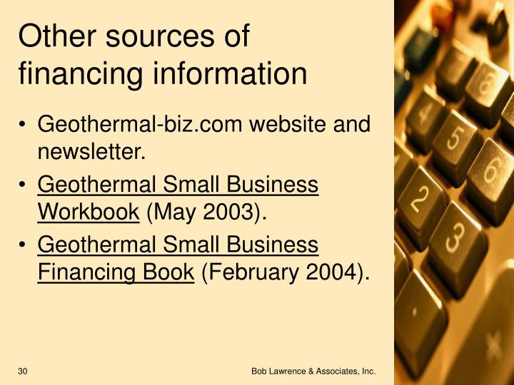 Other sources of financing information