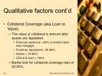 qualitative factors cont d