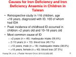 causes for iron deficiency and iron deficiency anaemia in children in taiwan