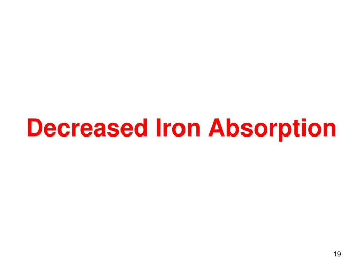 Decreased Iron Absorption