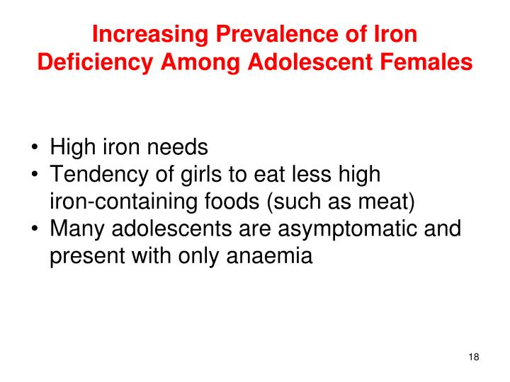 Increasing Prevalence of Iron Deficiency Among Adolescent Females