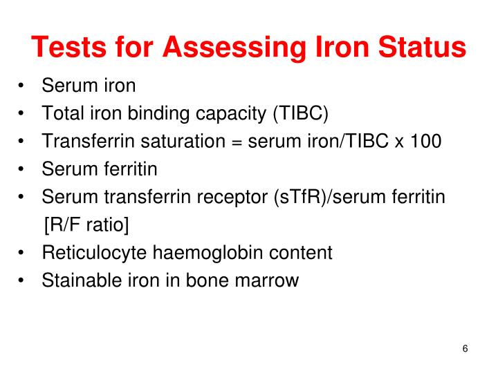 Tests for Assessing Iron Status