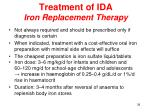 treatment of ida iron replacement therapy