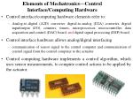 elements of mechatronics control interface computing hardware