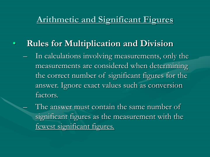 Arithmetic and Significant Figures