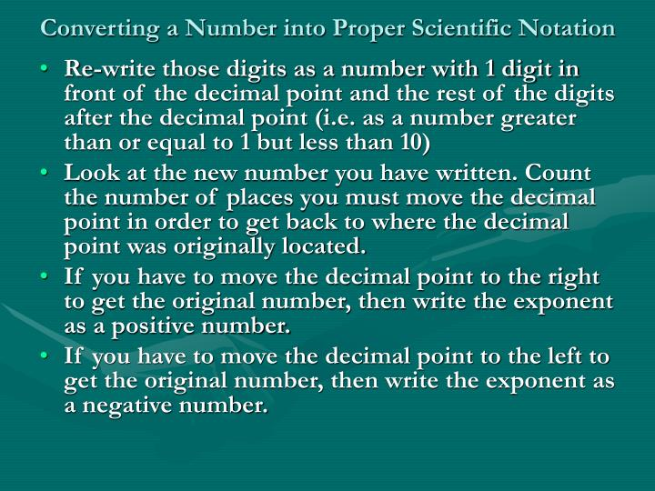 Converting a Number into Proper Scientific Notation