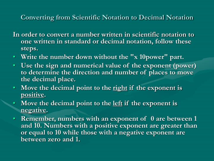 Converting from Scientific Notation to Decimal Notation