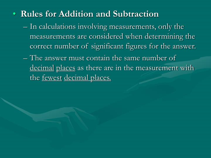 Rules for Addition and Subtraction