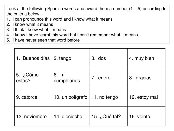 Look at the following Spanish words and award them a number (1 – 5) according to the criteria below: