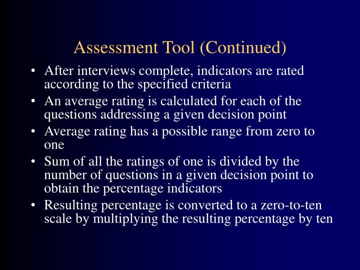 Assessment Tool (Continued)
