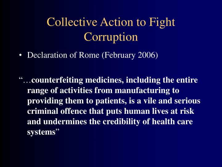 Collective Action to Fight Corruption